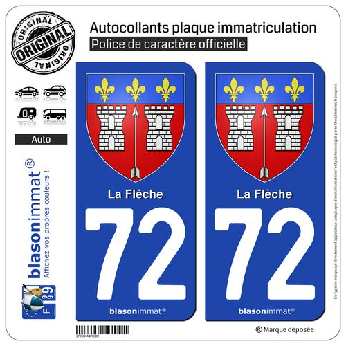 2 Autocollant Plaque D'immatriculation Auto | 72 La Flèche - Armoiries | 72200