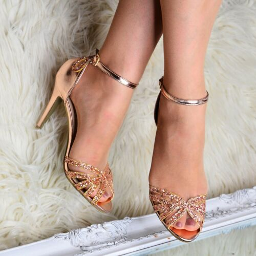 Ladies Glitter Heeled Sandals Ankle Strap Women/'s Strappy Peep Toe Evening Shoes