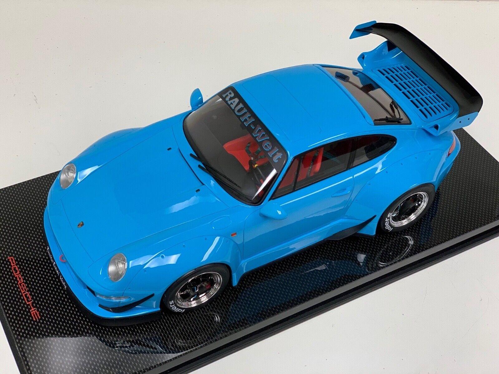 1/12 GT Spirit Porsche 911 RWB 993 in Baby Blue - Gt167 on Carbon fiber base