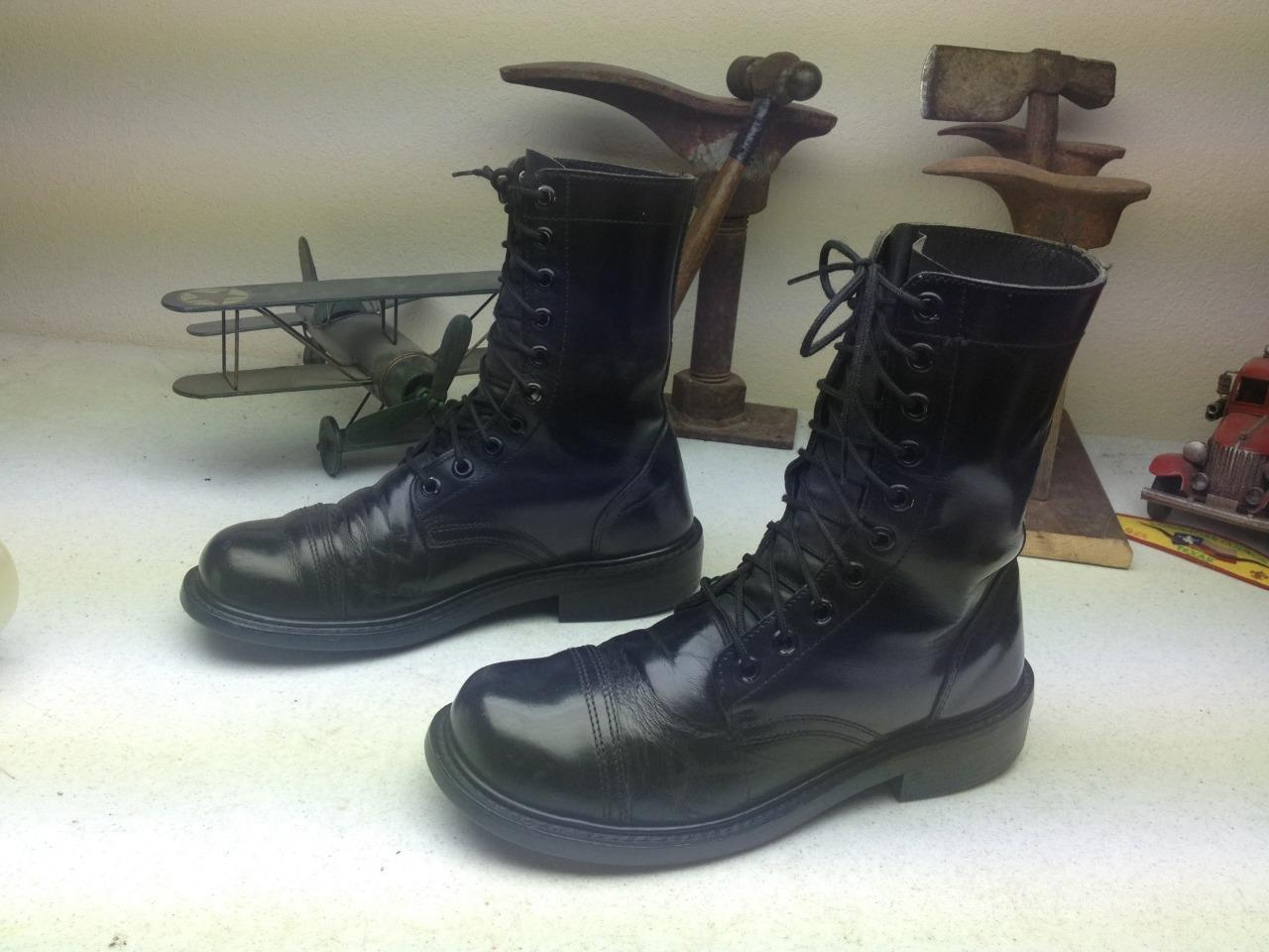 MADE IN USA MILITARY BLACK LEATHER LACE UP MOTORCYCLE PARATROOPER BOOTS SIZE 9M