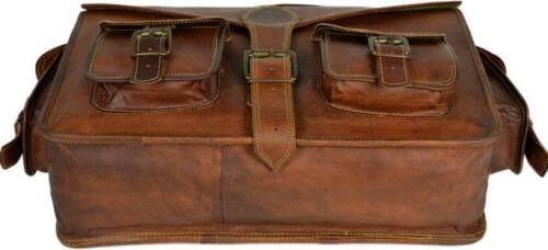 Weinlese Ziegenleder Kurier Echtes Schultaschen Beutel echtes Laptop-Brown Akten