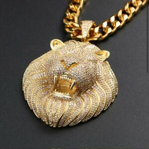 Iced Out Lion King Hip Hop Necklace Jewelry Bling Diamond Look Gold Silver Chain Ebay