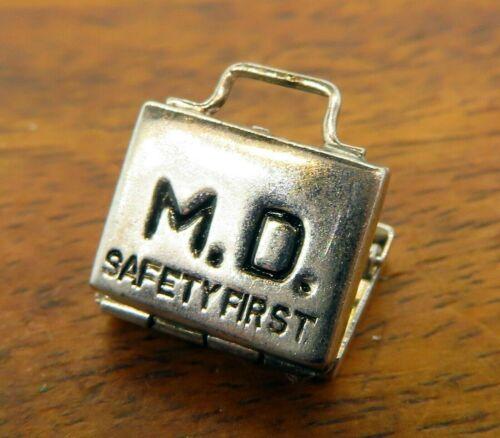 Safety Pin Mechanical Sterling Silver Vintage Charm For Bracelet