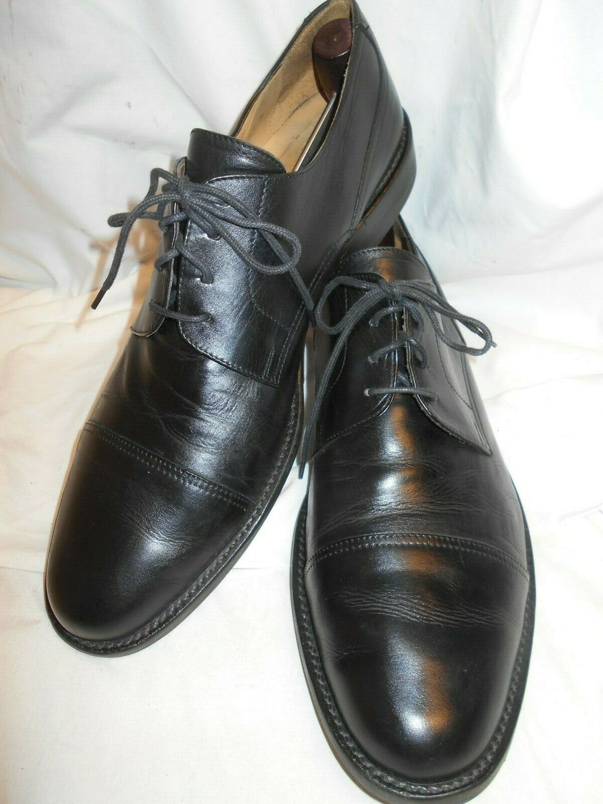 Excellent Johnston&Murphy Men's Black Leather Cap Toe Oxfords Made In Italy 12M
