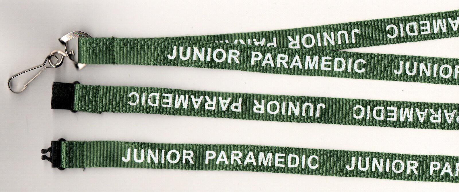 1 Green/White JUNIOR PARAMEDIC Printed Safety Hospital Lanyard FREE UK P&P