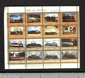 Trains-Locomotives-miniature-sheet-of-16-stamps-CTO-steam-diesel-electric