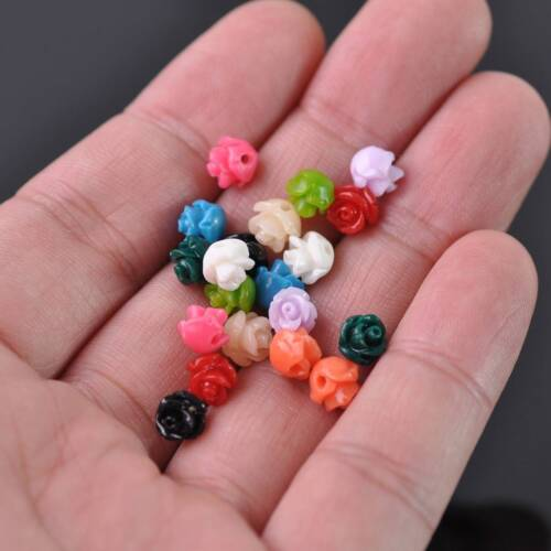 20pcs 6mm Random Color Flower Resin Charms Loose Spacer Beads Jewelry Findings