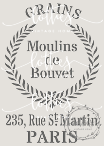 Plantilla A5 francés Tela De Muebles saco de grano Artes Vintage Shabby Chic de Mylar de 190