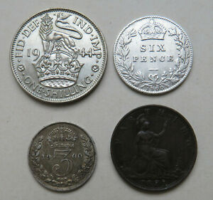 England-Shilling-1944-6-3-Pence-1900-Farthing-1873