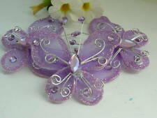 4 - 55mm Stocking Butterflies Purple with Glitter & Gem