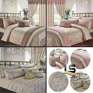 Details about Luxury Embroidery Duvet Set,Curtains, Pillow, Throws & Cushion Covers Set Marie