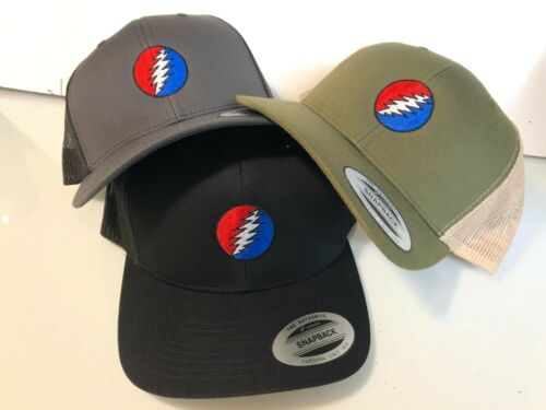 Grateful Dead Steal Your Face Embroidered Yupoong Snapback Retro Trucker Cap