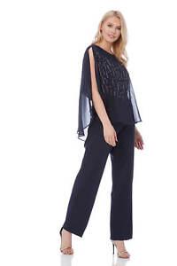 casual shoes deft design favorable price Details about Roman Originals Women's Navy Diamante Overlay Jumpsuit