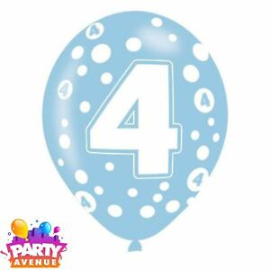 9dfd2f3879896 6pk Age 4 Assorted Colours Latex Balloon Polka Dot Birthday Party ...