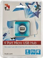 TRUST 16127 4 PORT USB 2.0 HUB, MICRO BLUE WITH DETACHABLE 1.2M CONNECTION CABLE