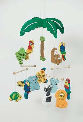 Jungle Animals Palm Tree Wooden Nursery Cot Hanging Mobile Toy RA820
