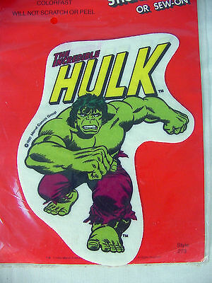 Vintage The INCREDIBLE HULK Iron-On PATCH~ 1980 Marvel-Mania MISP~ Super Heroes~