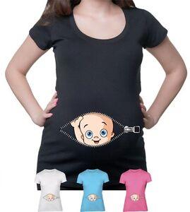 37aa63b9 Image is loading Baby-Peeking-T-Shirt-Pregnancy-Maternity-Baby-Shower-