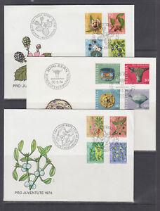Switzerland-Sc-B430-B478-FDC-1975-80-semi-postals-12-cplt-sets-on-12-FDCs