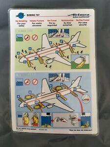 Airtours International B757 Safety Card. November 1993