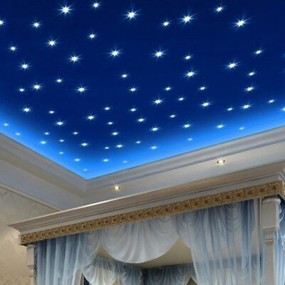 100pcs 3D Colored Star Sticker Home Decor Glow In The Dark Wall Decal Room