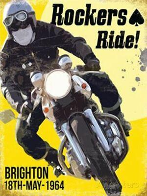 ROCKERS RIDE BIKER BRIGHTON RUN 1964 VINTAGE OLD POSTER STYLE METAL WALL SIGN
