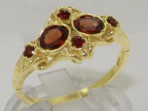 Solid-9ct-Yellow-Gold-Natural-Garnet-Vintage-style-Band-Ring
