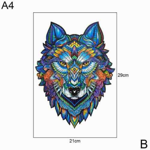 Puzzle Jigsaw Wolf Cartoon Design Wooden Pieces Adult Kids Toy Best Gift Decor Q