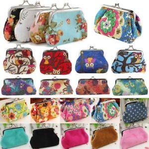Coin Purse Womens Canvas Retro Floral Small Change Coin Purse Clutches Bag Female Key Card Coin Holder Bags