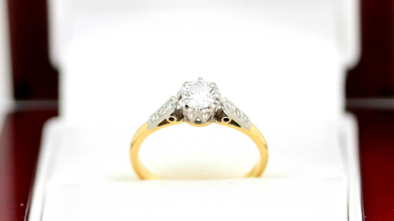 Exceptional Diamond Solitaire Ring 18ct gold Platinum Ladies Size K 1 2 L70