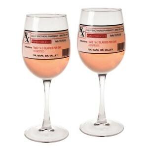 Prescription Wine Glasses - Set of 2 Wine Stems with Novelty Prescription Labels