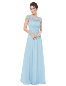 f2ec7a7be43 Details about UK Ever-Pretty Lace Cap Sleeve Backless Long Bridesmaid Dress  Evening Party 9993