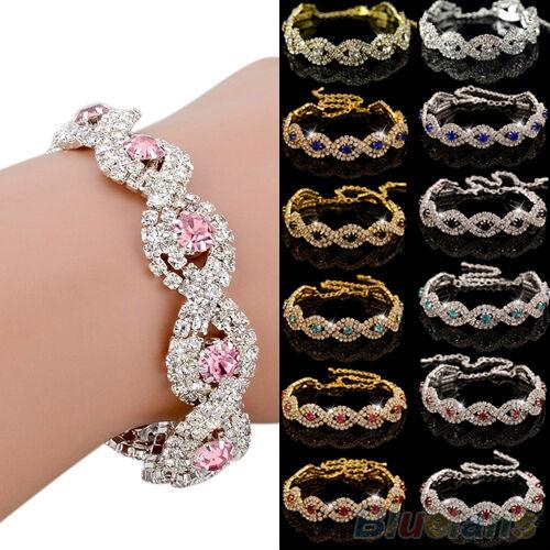 Womens Girl Stunning Wedding Party Rhinestone Wrap Cuff Bangle Chain Bracelet