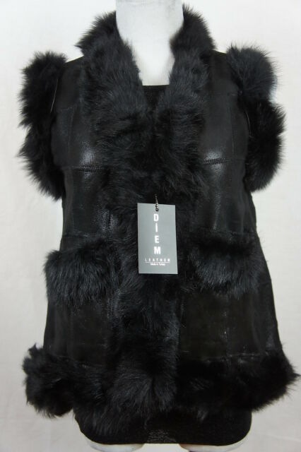 Short Women 100% Shearling Leather Sheepskin Long Haired Toscana Fur Vest Jacket