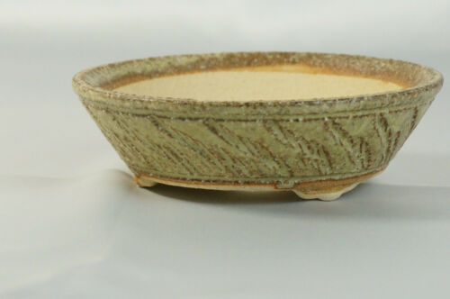 "Bonsai Pot Shigaraki Stoneware /""Sori Small/"" d15cm Planter Japanese"