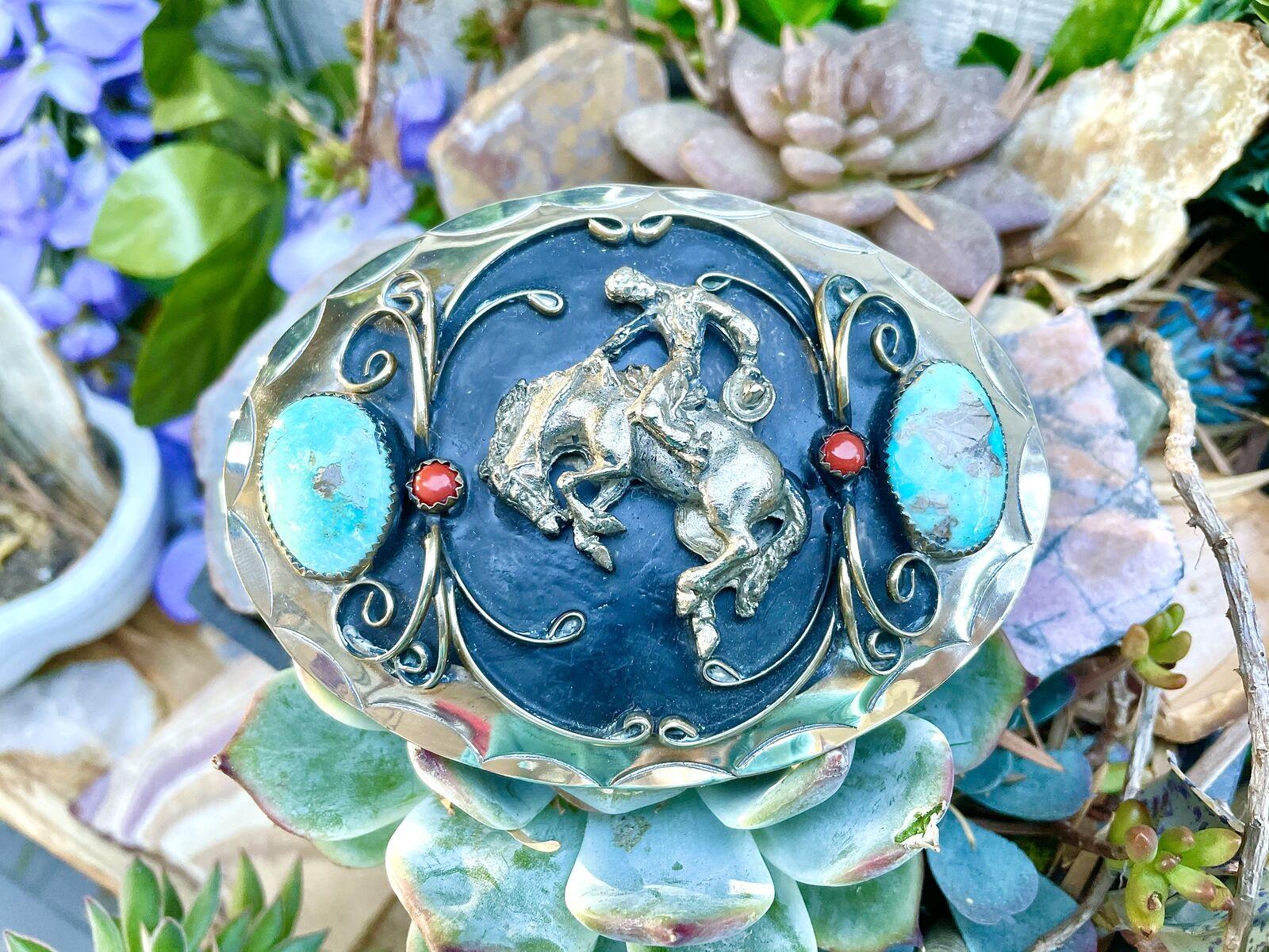 Vintage Southwestern Silver Turquoise Stone Coral Cowboy Horse Belt Buckle 103g