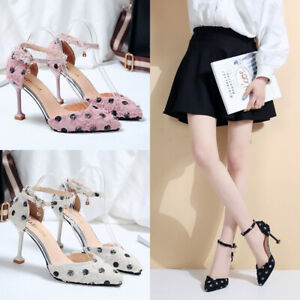 Womens-High-Heels-Ankle-Strap-Sandals-Ladies-Polka-Dot-Casual-Pointed-Toe-Shoes