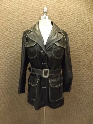 Super personnage en cuir Jacket Cool Vtg noir avec Got '60s Hipster court RnrR8Pq