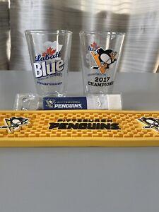 Pittsburgh-Penguins-Labatt-Blue-Rubber-Spill-Bar-Mat-Pint-Glasses-Bottle-Opener