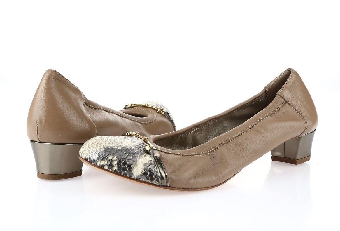femmes AGL beige leather ballet flat w  heels chaussures sz. 41