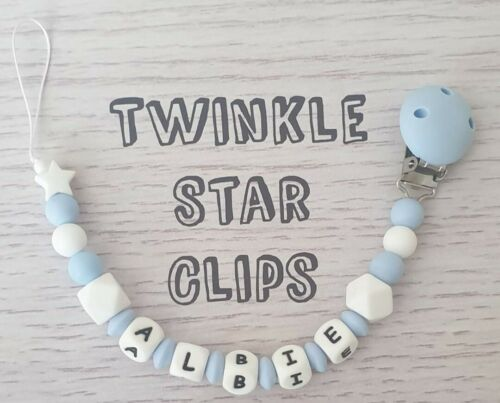 100/% Full Silicone Personalised Dummy Clip Baby Blue  White