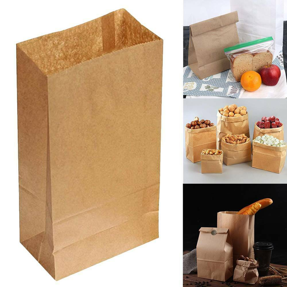 braun Kraft Paper Food Packaging Bags Gifts Bread Candy Wedding Party Recyclable