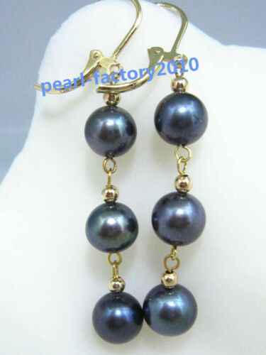 9-8 mm South Sea black Pearl 14K Gold Earrings Details about  /AAA