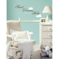 Sweet Dreams Baby Wall Stickers Nursery Decals Brown Pink Blue Yellow Decor