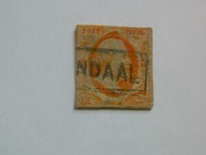 68-PAYS-BAS-Royaume-1852-n-3-Guillaume-III-15c-orange-oblitere-beau