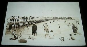 RPPC-Winnipeg-Beach-and-wood-fishing-pier-1931-antique-real-photo-postcard