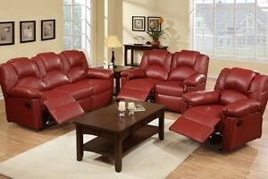 Sofa Loveseat Rocket Recliner 3 Pc Motion Sofa Set Burgundy Leather Living Room