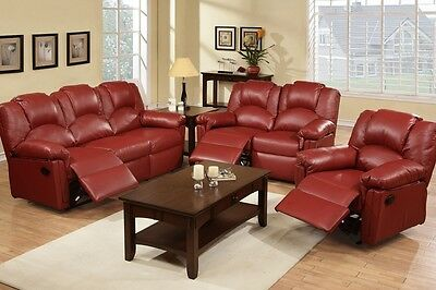 Sofa Loveseat Rocket Recliner 3 Pc Motion Sofa Set Burgundy Leather Living  Room | eBay