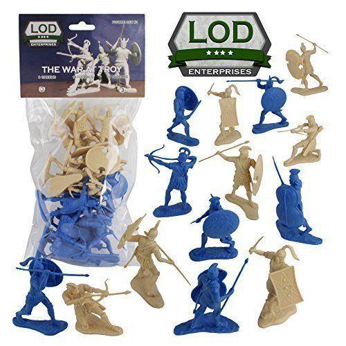 LOD Trojan War GREEKS TROJANS Soldiers 16 BLUE & TAN 1/30 Figure Set FREE SHIP