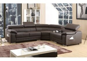 Image Is Loading DAKOTA BROWN BONDED LEATHER CORNER SOFA RIGHT HAND